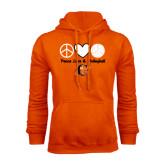 Orange Fleece Hoodie-Peace, Love and Volleyball Design