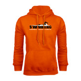 Orange Fleece Hoodie-Swimming w/ Swimmer Design
