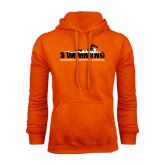 Orange Fleece Hoodie-Swimming w/ Swimmer Design