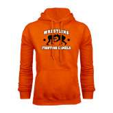 Orange Fleece Hoodie-Wrestling Design