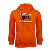 Orange Fleece Hoodie-Wrestling Design