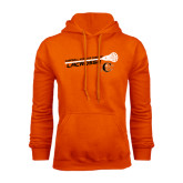 Orange Fleece Hoodie-Lacrosse Stick Rise Design