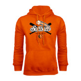 Orange Fleece Hoodie-Softball Crossed Bats Design