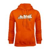 Orange Fleece Hoodie-Softball Script w/ Bat Design