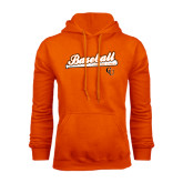 Orange Fleece Hoodie-Baseball Bat Design