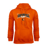 Orange Fleece Hoodie-Baseball Crossed Bats Design