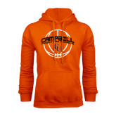 Orange Fleece Hoodie-Basketball Ball Design