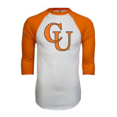 White/Orange Raglan Baseball T Shirt-CU