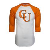 White/Orange Raglan Baseball T Shirt-CU
