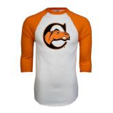 White/Orange Raglan Baseball T Shirt-C w/ Camel Head