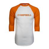 White/Orange Raglan Baseball T Shirt-Campbell Flat