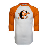 White/Orange Raglan Baseball T Shirt-Campbell Official Logo - Distressed
