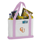 Contender White/Pink Canvas Tote-CU