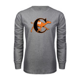 Grey Long Sleeve T Shirt-Campbell Official Logo