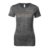 Next Level Ladies Junior Fit Dark Grey Burnout Tee-Rhinestone Campbell, Orange Rhinestones
