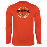 Performance Orange Longsleeve Shirt-Basketball Ball Design