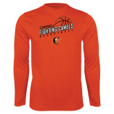 Performance Orange Longsleeve Shirt-Basketball Stacked Design