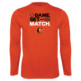 Syntrel Performance Orange Longsleeve Shirt-Game Set Match Tennis Design