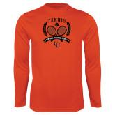 Syntrel Performance Orange Longsleeve Shirt-Crossed Tennis Design