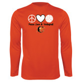 Syntrel Performance Orange Longsleeve Shirt-Peace, Love and Volleyball Design