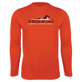 Performance Orange Longsleeve Shirt-Swimming w/ Swimmer Design