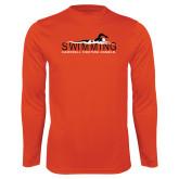Syntrel Performance Orange Longsleeve Shirt-Swimming w/ Swimmer Design
