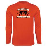 Syntrel Performance Orange Longsleeve Shirt-Wrestling Design