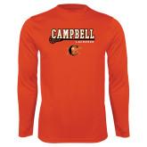 Syntrel Performance Orange Longsleeve Shirt-Lacrosse Stick Design