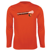 Performance Orange Longsleeve Shirt-Lacrosse Stick Rise Design