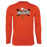 Performance Orange Longsleeve Shirt-Softball Crossed Bats Design