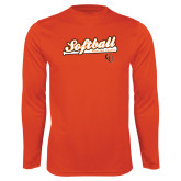 Performance Orange Longsleeve Shirt-Softball Script w/ Bat Design
