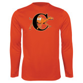 Performance Orange Longsleeve Shirt-Campbell Official Logo