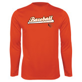 Syntrel Performance Orange Longsleeve Shirt-Baseball Bat Design