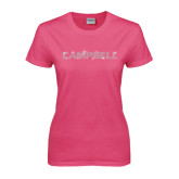 Ladies Fuchsia T Shirt-Rhinestone Campbell, Crystal Rhinestones