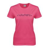 Ladies Fuchsia T Shirt-Rhinestone Campbell, Fuchsia Rhinestones