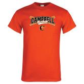 Orange T Shirt-Baseball Crossed Bats Design