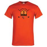 Orange T Shirt-Golf Crossed Sticks Designs