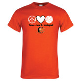 Orange T Shirt-Peace, Love and Volleyball Design