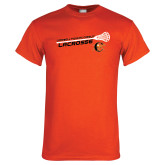 Orange T Shirt-Lacrosse Stick Rise Design