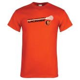 Orange T Shirt-Lacrosse Stick Rise Design