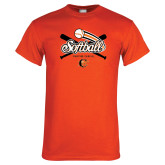 Orange T Shirt-Softball Crossed Bats Design