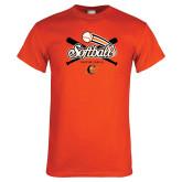 Orange T Shirt-Softball Crossed Bats Design