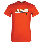 Orange T Shirt-Softball Script w/ Bat Design