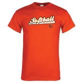 Orange T Shirt-Softball Script w/ Bat Design