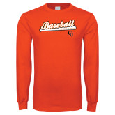 Orange Long Sleeve T Shirt-Baseball Bat Design