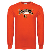 Orange Long Sleeve T Shirt-Baseball Crossed Bats Design