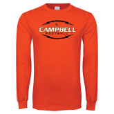 Orange Long Sleeve T Shirt-Lighting Football Ball Design