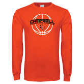 Orange Long Sleeve T Shirt-Basketball Ball Design