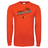 Orange Long Sleeve T Shirt-Basketball Stacked Design