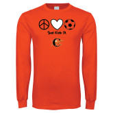 Orange Long Sleeve T Shirt-Just Kick It Soccer Design